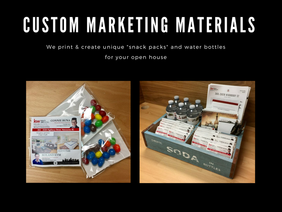 "We create custom, unique marketing materials like ""snack packs"" and water bottles for your open house."